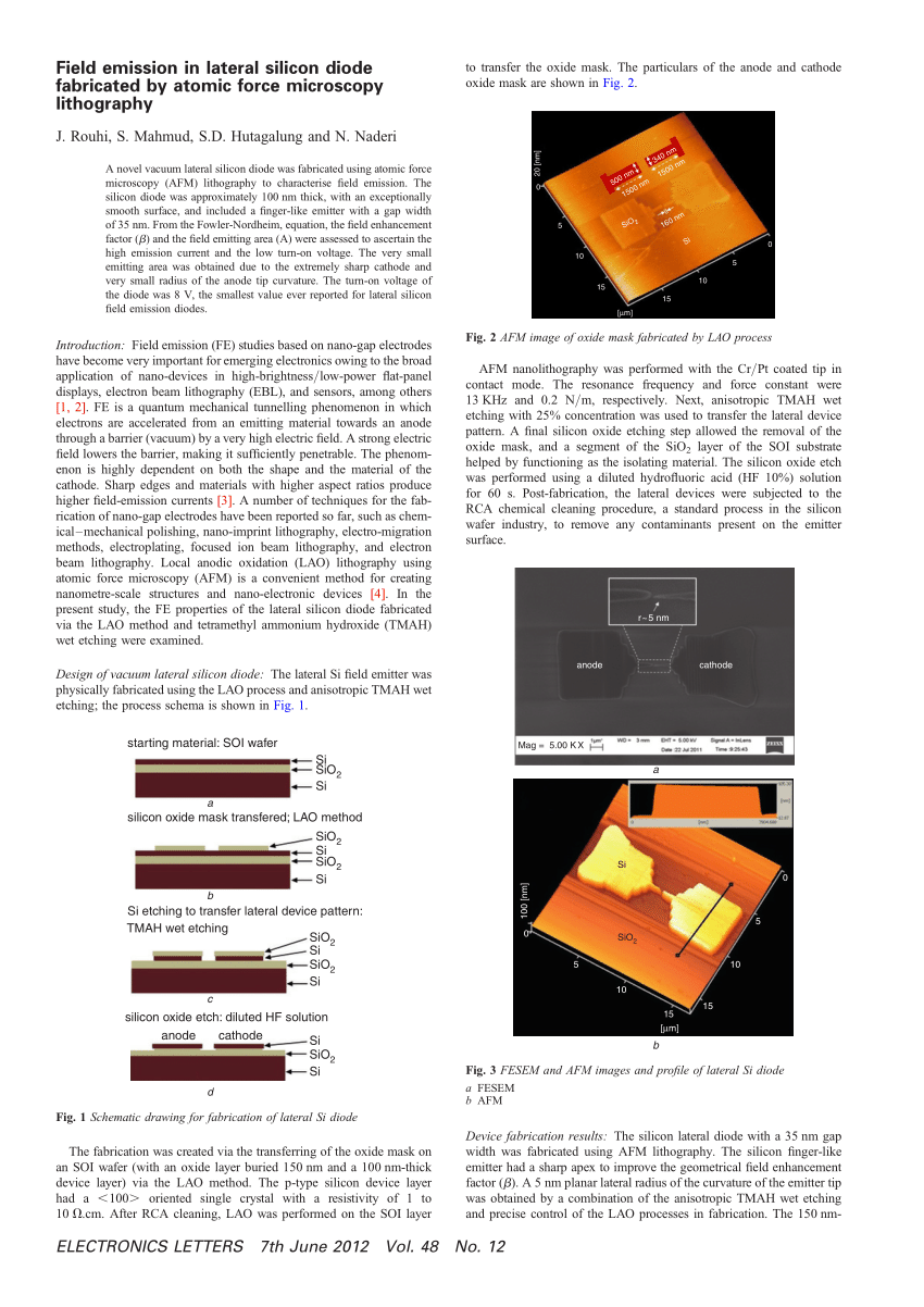 hight resolution of  pdf field emission in lateral silicon diode fabricated by atomic force microscopy lithography