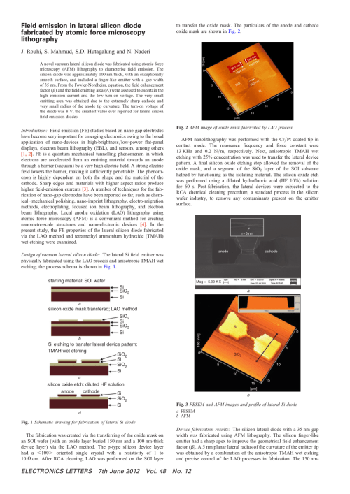 small resolution of  pdf field emission in lateral silicon diode fabricated by atomic force microscopy lithography