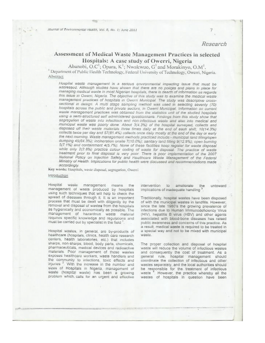 (PDF) Assessment of medical waste management practice in