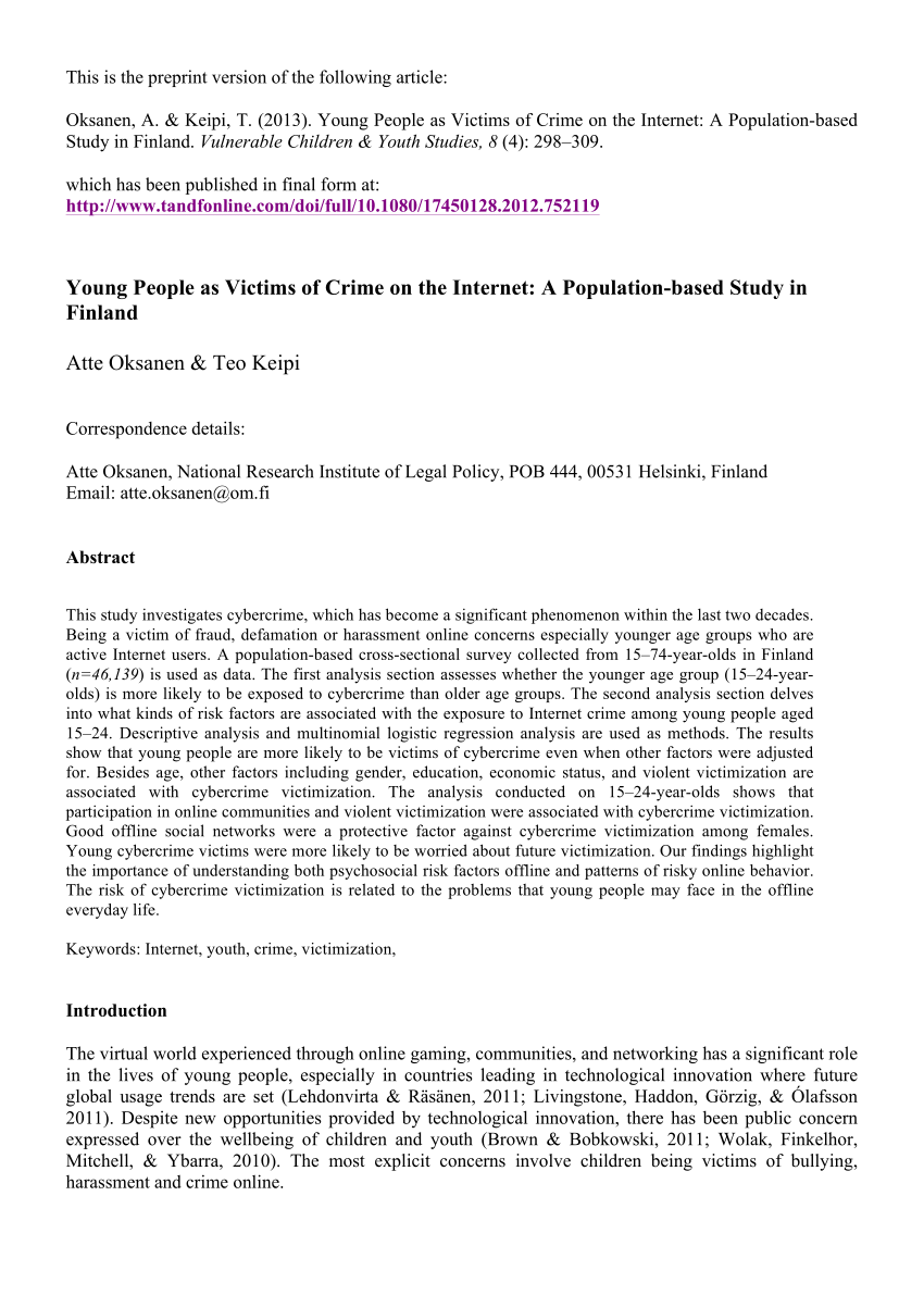PDF Young People As Victims Of Crime On The Internet A Population
