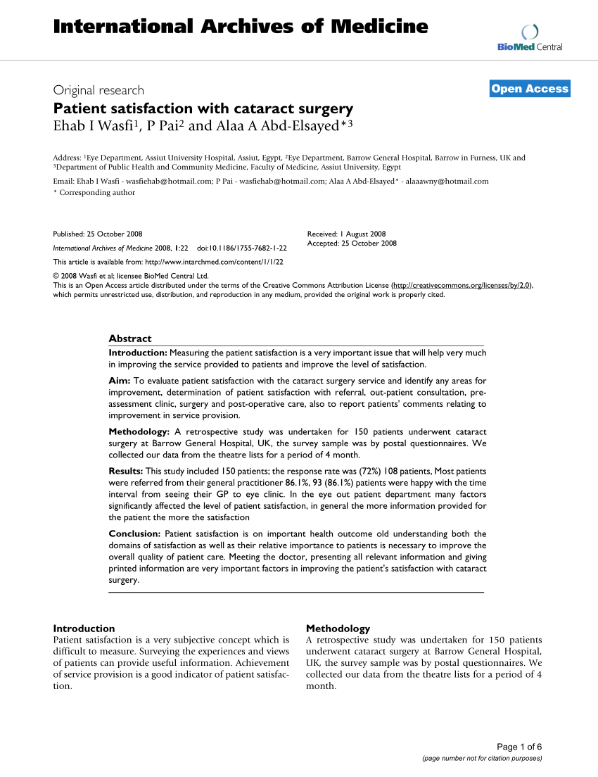 (Pdf) Patient Satisfaction With Cataract Surgery