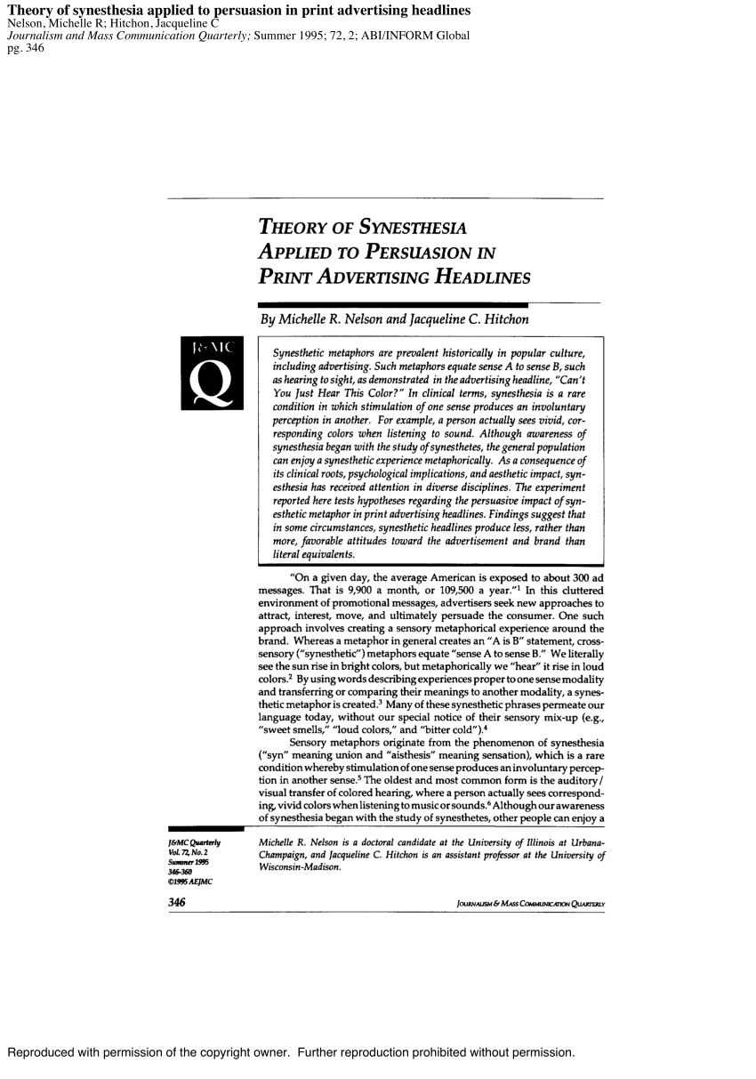 (PDF) Theory of Synesthesia Applied to Persuasion in Print