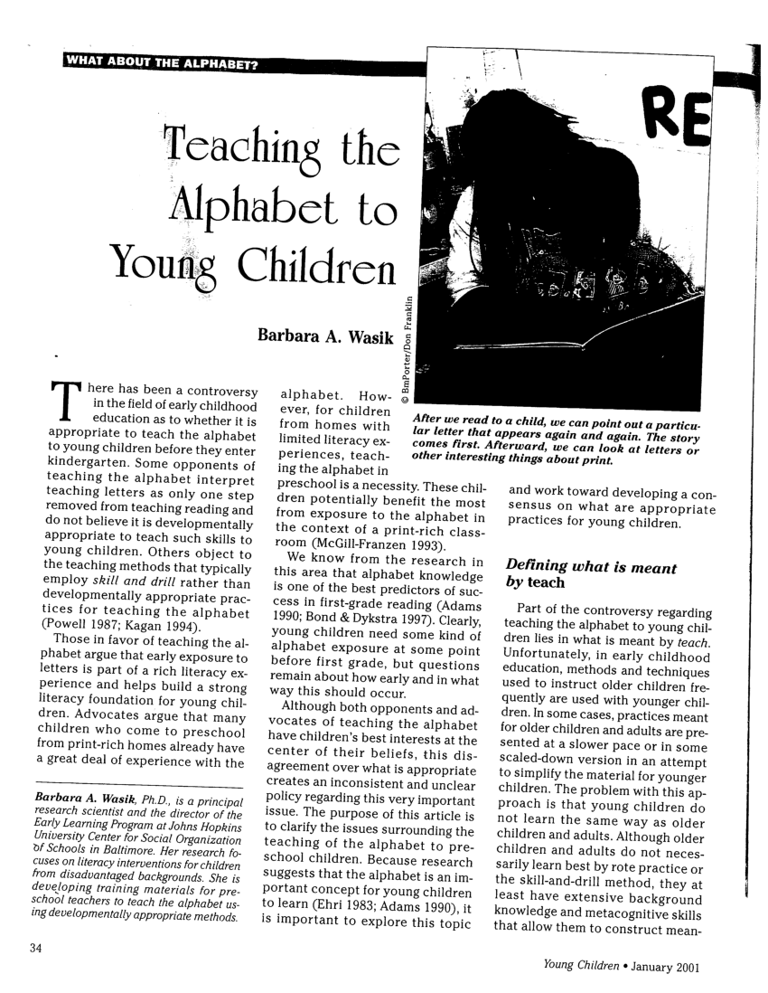 (PDF) Teaching the Alphabet to Young Children