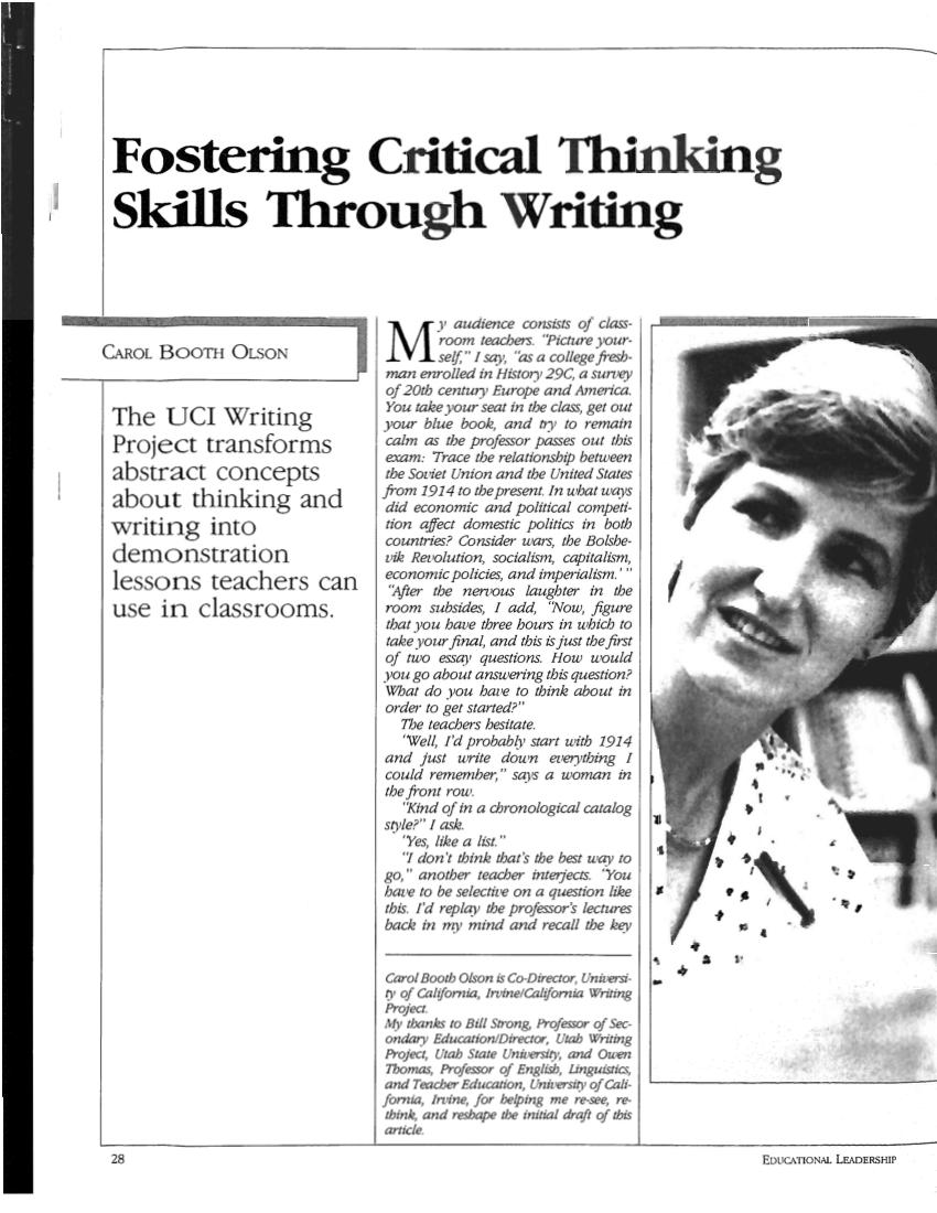 (PDF) Fostering Critical Thinking Skills through Writing