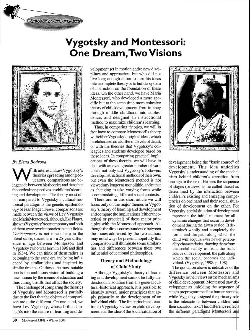 piaget vs vygotsky venn diagram 1986 nissan pickup wiring pdf and montessori one dream two visions