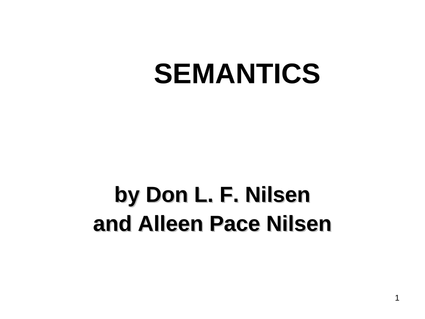 (PDF) Semantic Theory: A Linguistic Perspective