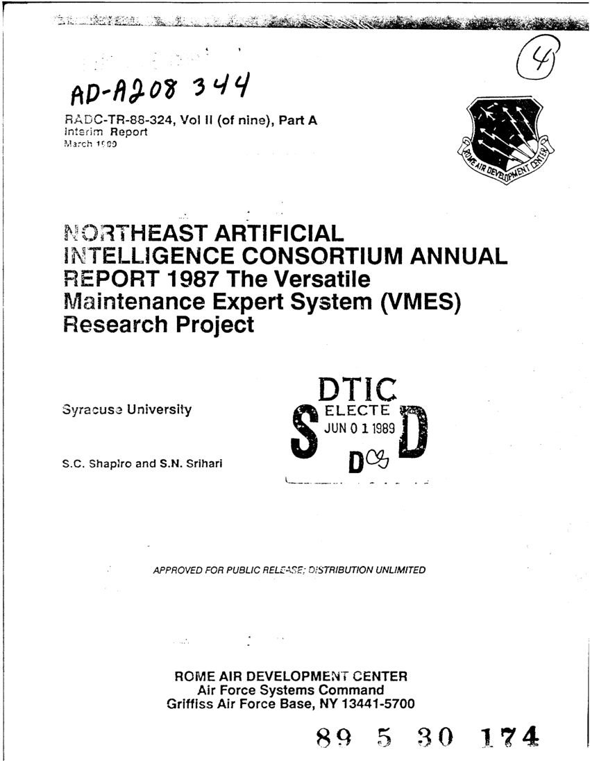 medium resolution of  pdf northeast artificial intelligence consortium annual report 1987 volume 2 part a the versatile maintenance expert system vmes research project