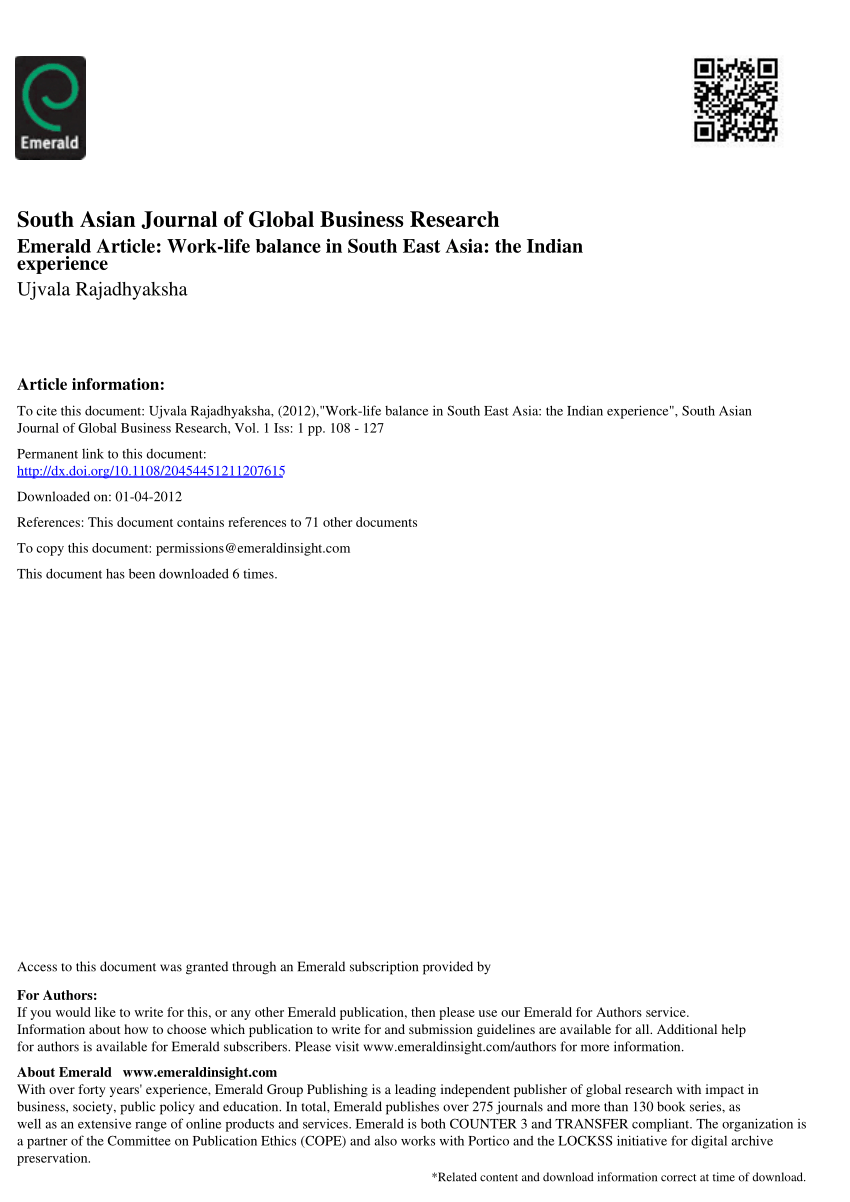 PDF Work Life Balance In South East Asia The Indian Experience