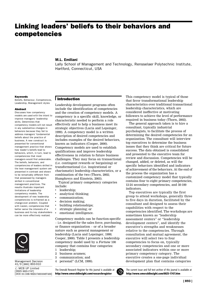 (PDF) Linking leaders' beliefs to their behaviors and