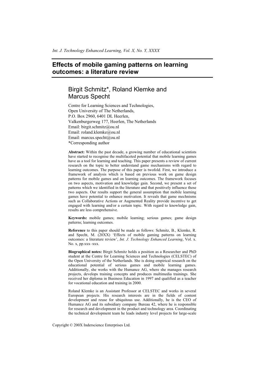 PDF Effects Of Mobile Gaming Patterns On Learning