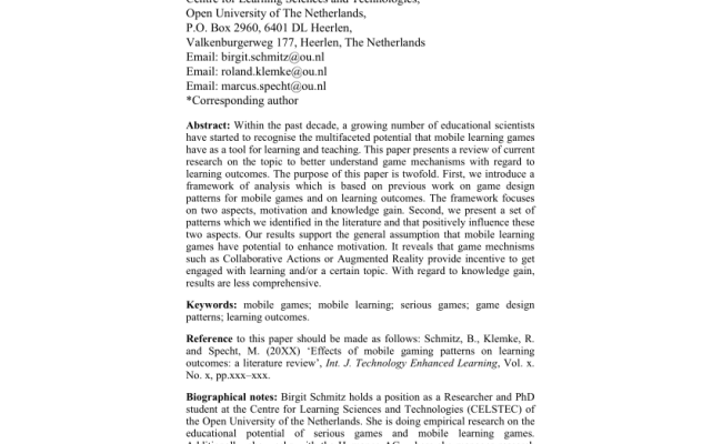 Effects Of Mobile Gaming Patterns On Learning Outcomes A