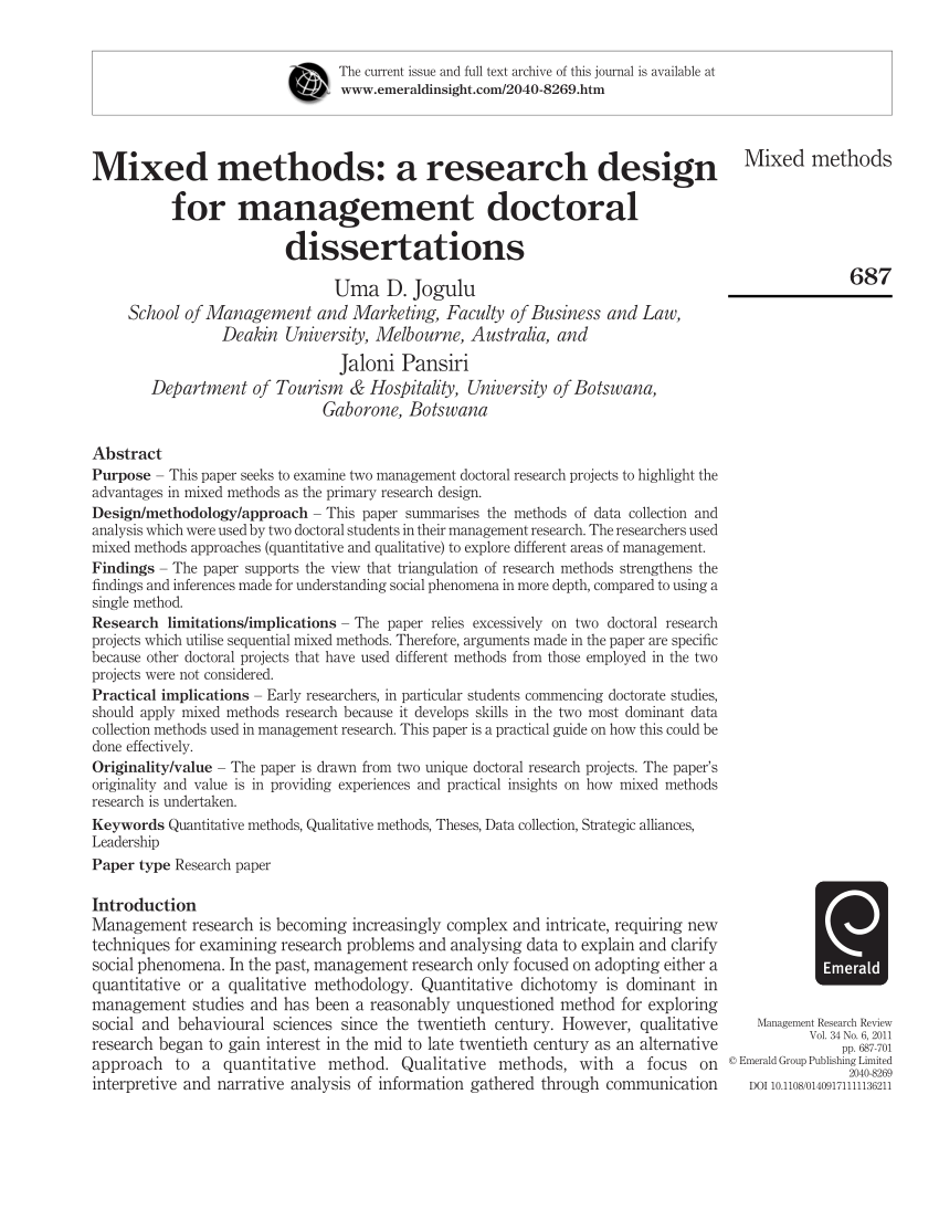Mixed Methods A Research Design For PDF Download Available