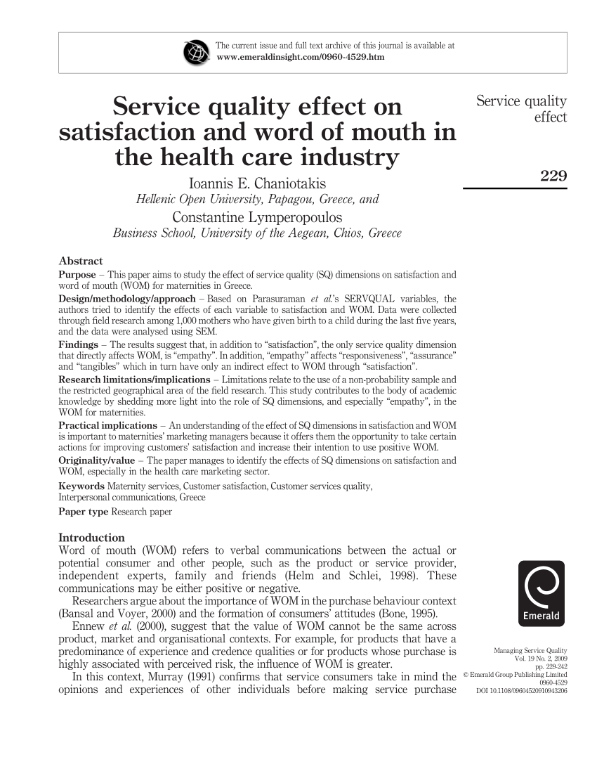 (Pdf) Service Quality Effect On Satisfaction And Word Of Mouth In The  Health Care Industry