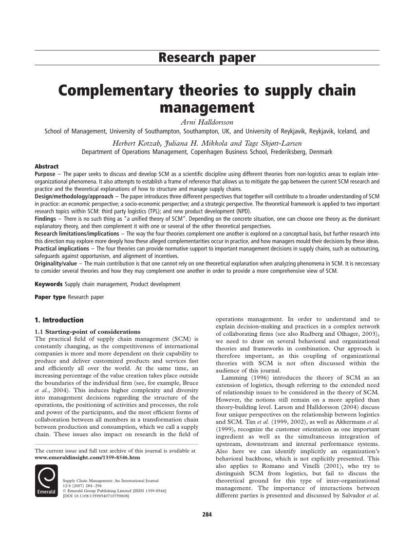 PDF Complementary Theories To Supply Chain Management