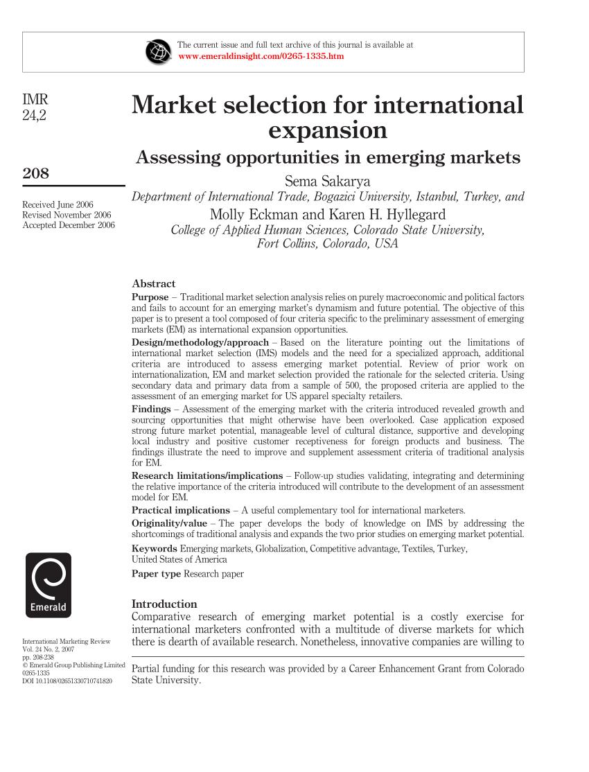 10 Cas De Marketing Pdf : marketing, Market, Selection, International, Expansion:, Assessing, Opportunities, Emerging, Markets