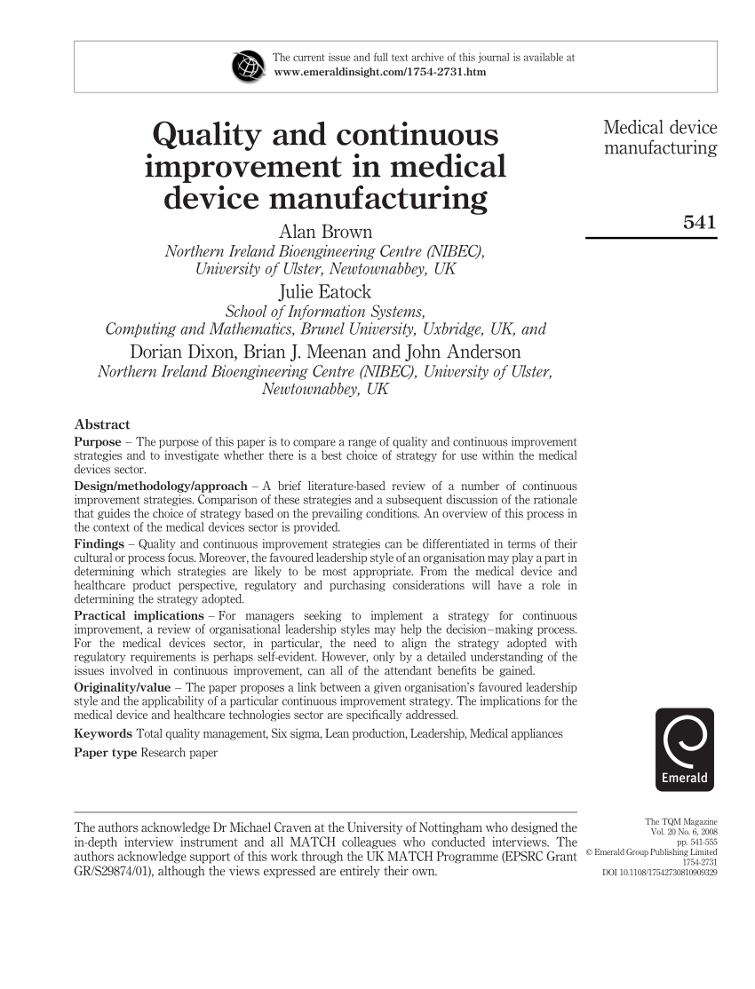PDF Quality And Continuous Improvement In Medical Device Manufacturing