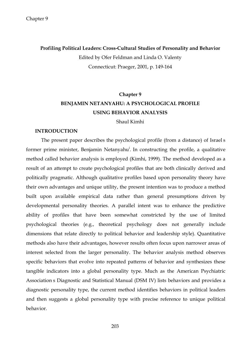 PDF The Psychological Profile Of Benjamin Netanyahu