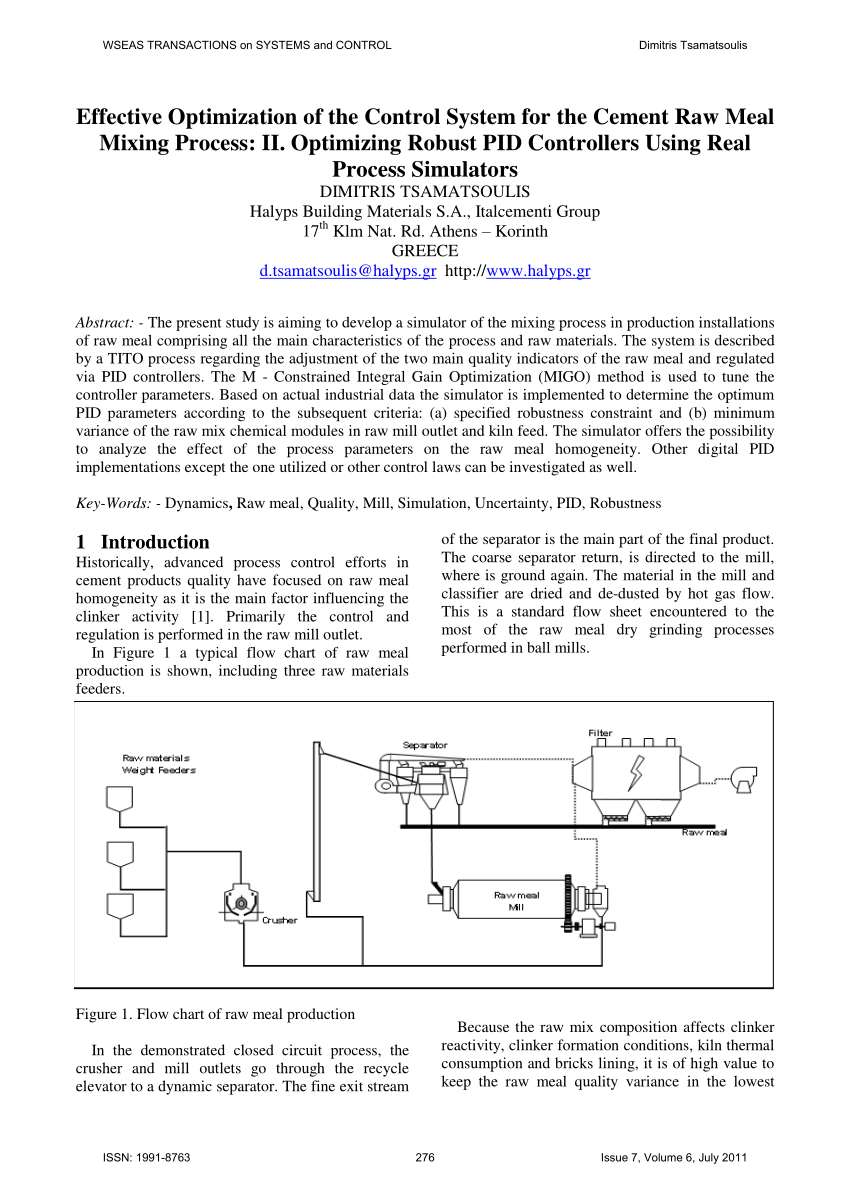 hight resolution of  pdf modeling of raw material mixing process in raw meal grinding installations
