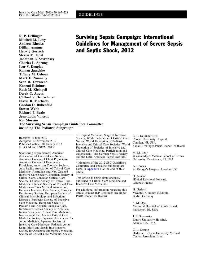(PDF) Surviving Sepsis Campaign: International Guidelines