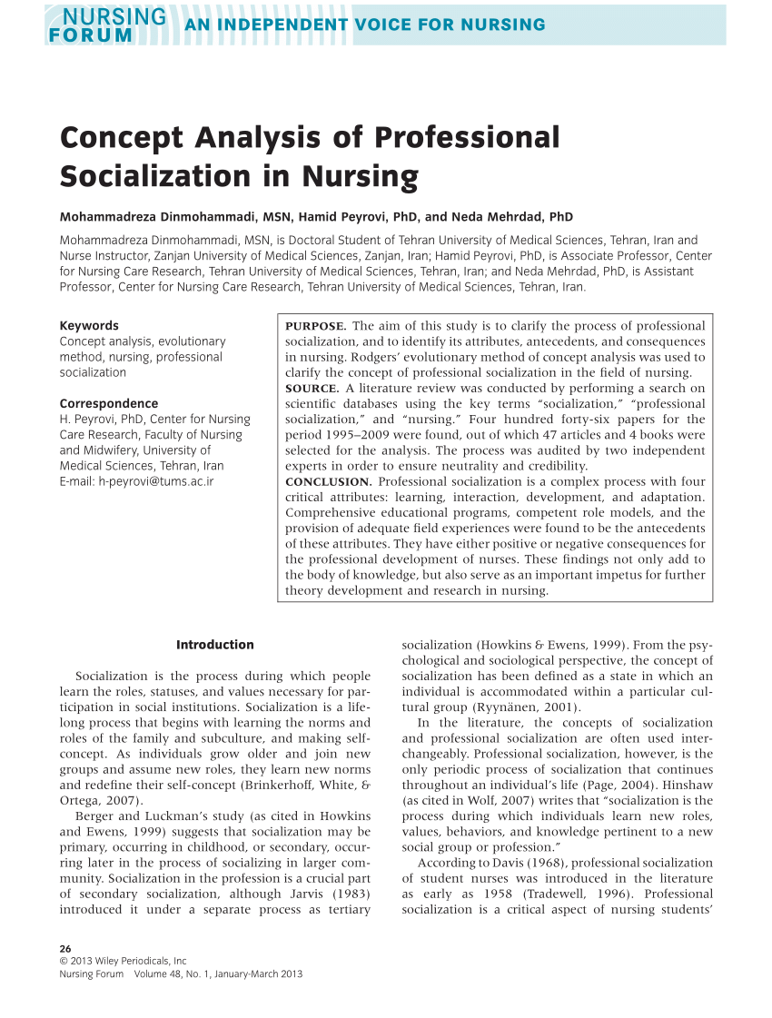 PDF Concept Analysis Of Professional Socialization In