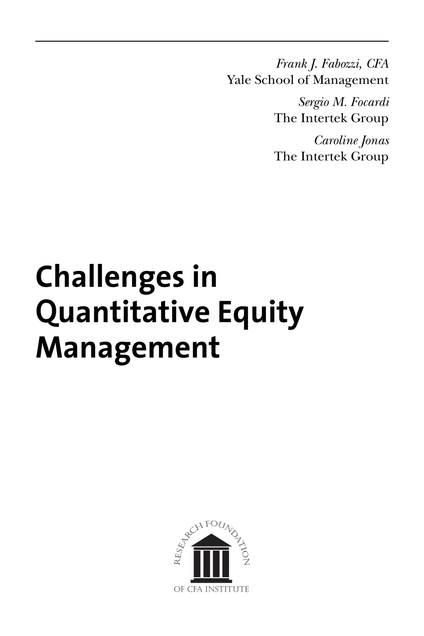 (PDF) On the challenges in quantitative equity management