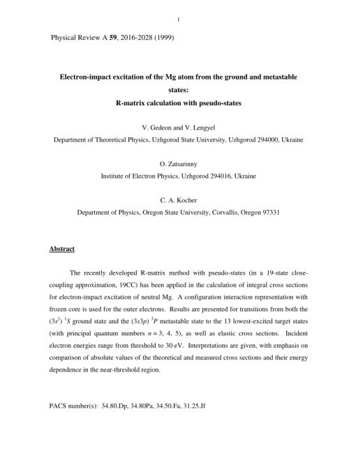 small resolution of  pdf electron impact excitation of the mg atom from the ground and metastable states r matrix calculation with pseudostates