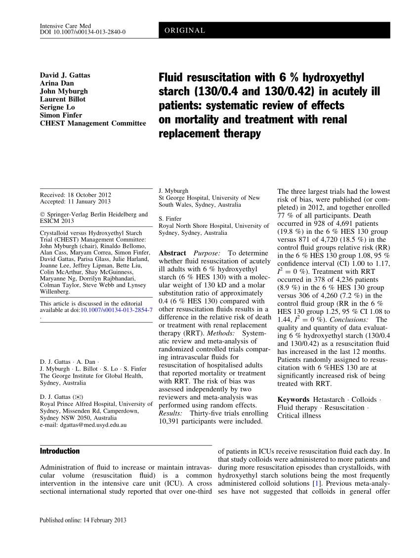 (PDF) Fluid resuscitation with 6 % hydroxyethyl starch