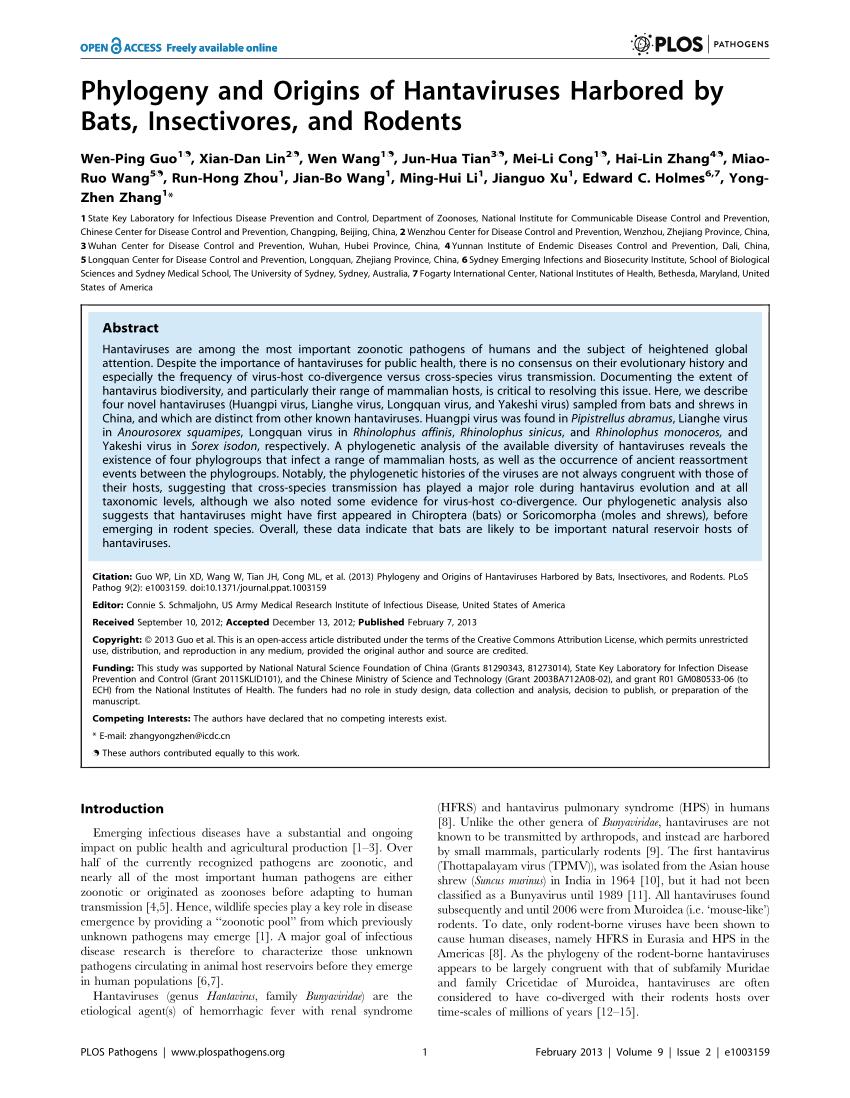 PDF) Phylogeny and Origins of Hantaviruses Harbored by Bats ...