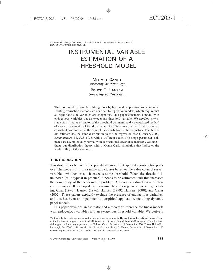 PDF Instrumental Variable Estimation of a Threshold Model