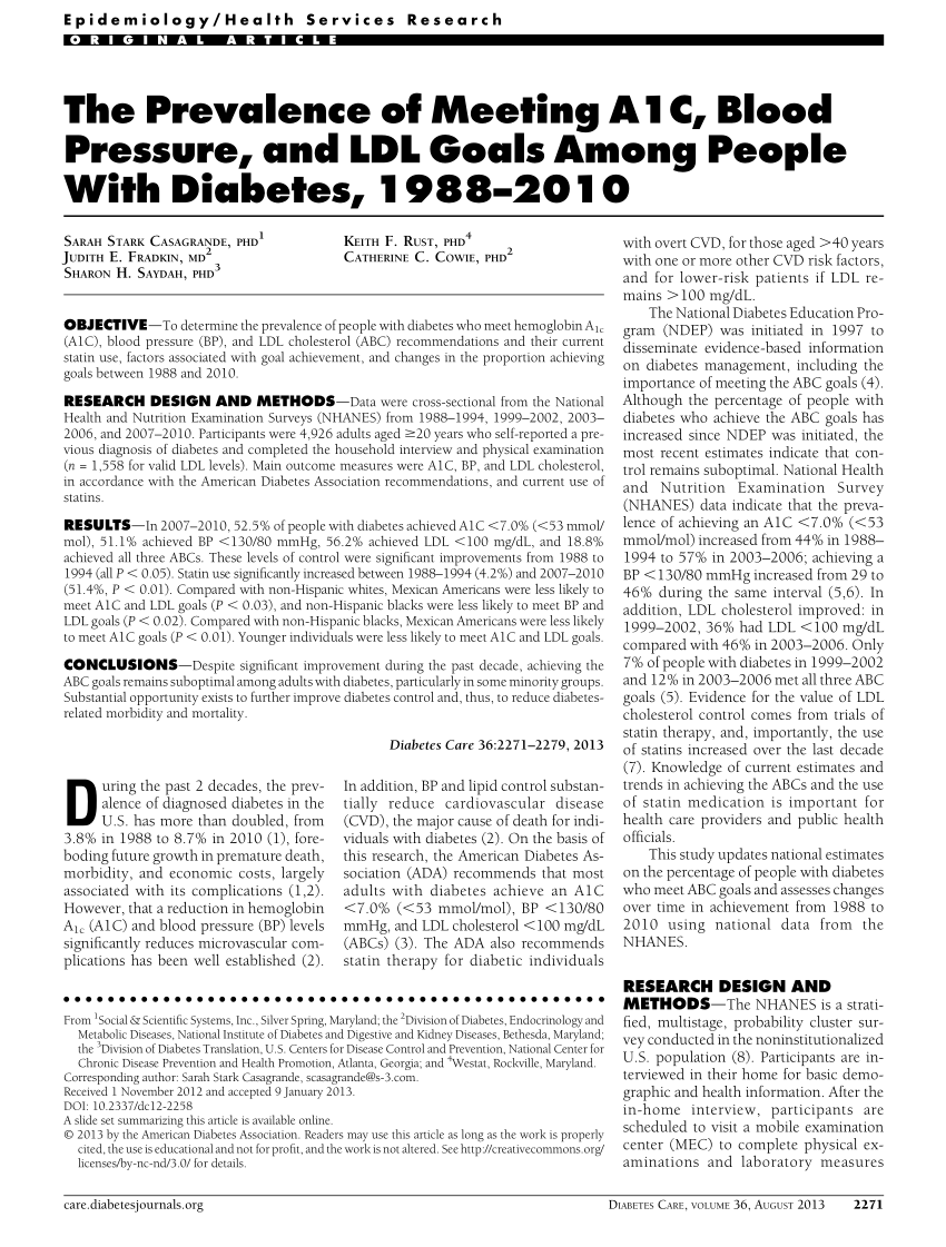 (PDF) The Prevalence of Meeting A1C, Blood Pressure, and
