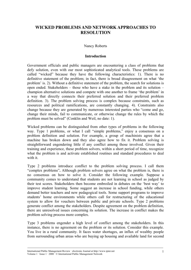 PDF) Wicked Problems and Network Approaches to Resolution