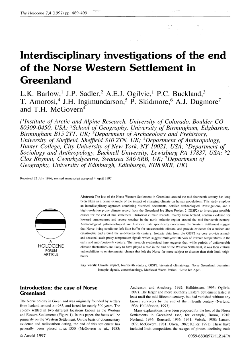 medium resolution of  pdf interdisciplinary investigations of the end of the norse western settlement in greenland