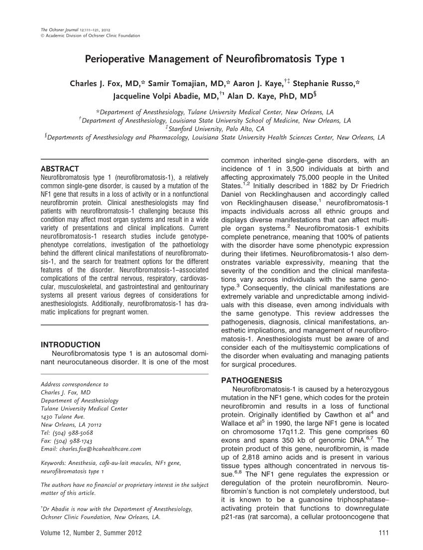 (PDF) Perioperative Management of Neurofibromatosis Type 1