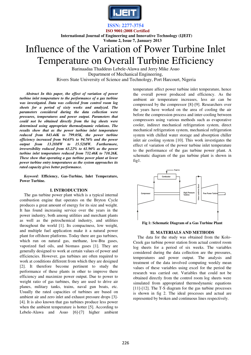 hight resolution of  pdf influence of the variation of power turbine inlet temperature on overall turbine efficiency