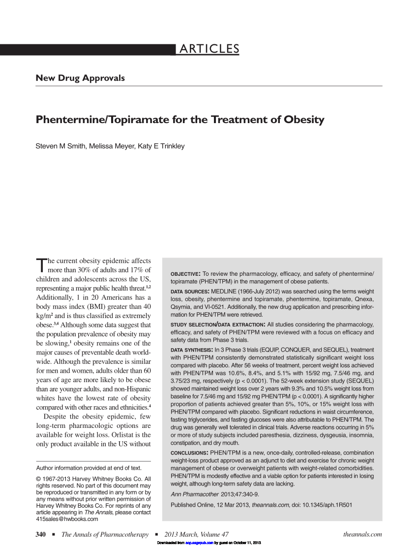(PDF) Phentermine/Topiramate for the Treatment of Obesity