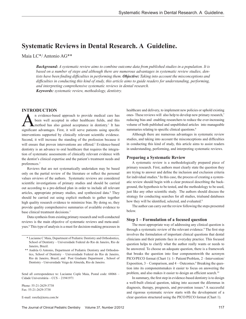 PDF Systematic Reviews In Dental Research A Guidline