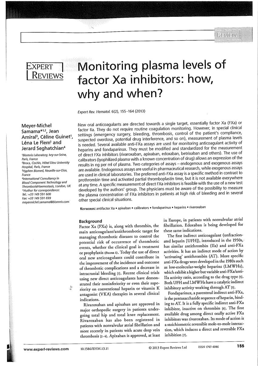 (PDF) Monitoring plasma levels of factor Xa inhibitors ...