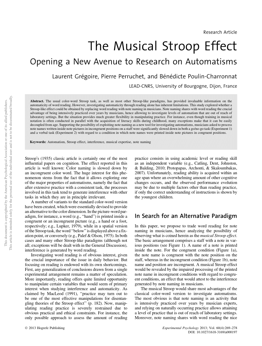 PDF The Musical Stroop Effect