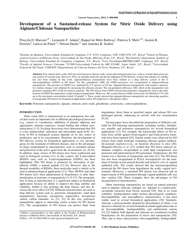 PDF Development of a Sustainedrelease System for Nitric