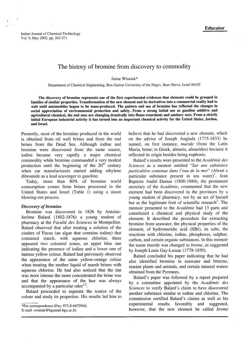 medium resolution of  pdf the history of bromine from discovery to commodity