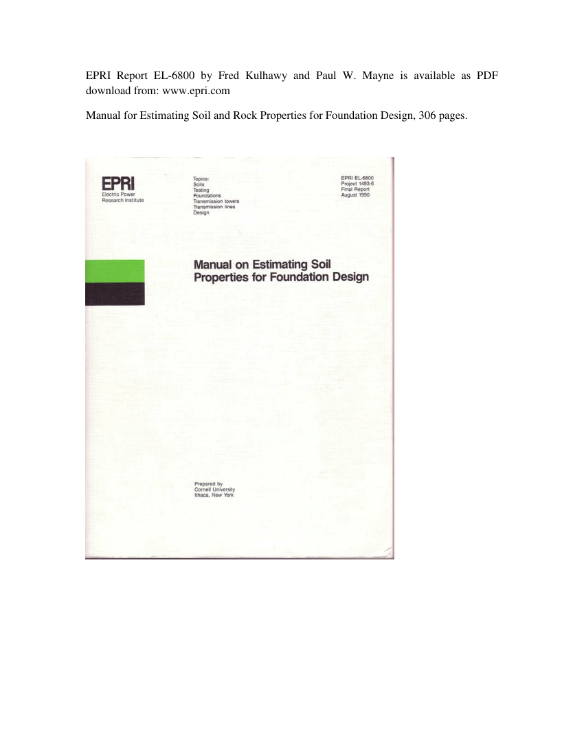 (PDF) Manual on Estimating Soil Properties for Foundation