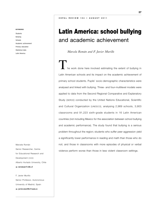 small resolution of PDF) Latin America: School bullying and academic achievement