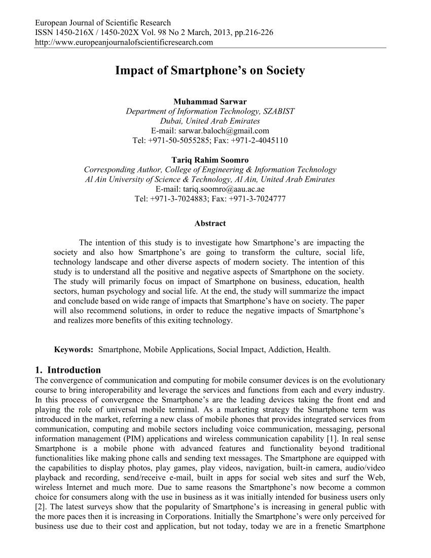 PDF Impact Of Smartphone's On Society