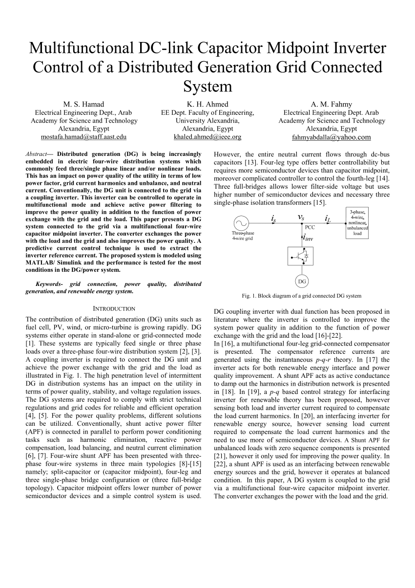 hight resolution of  pdf multifunctional dc link capacitor midpoint inverter control of a distributed generation grid connected system
