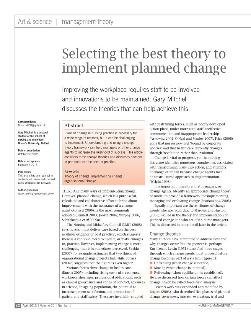 PDF Selecting The Best Theory To Implement Planned Change