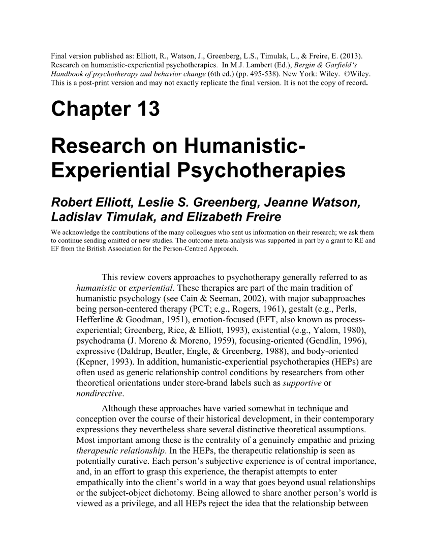 PDF Research On Humanistic Experiential Psychotherapies
