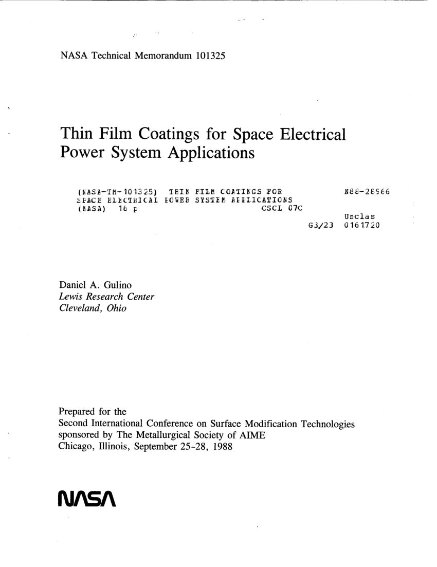 hight resolution of  pdf thin film coatings for space electrical power system applications