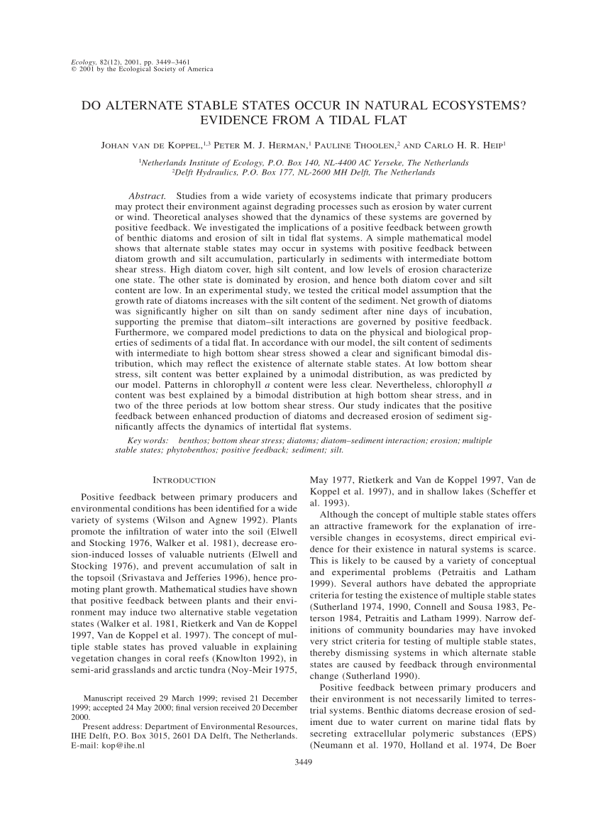 (PDF) Do Alternate Stable States Occur in Natural