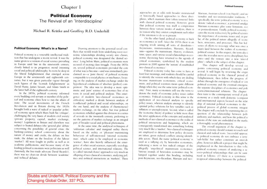 (PDF) Political Economy. The Revival of an 'Interdiscipline'