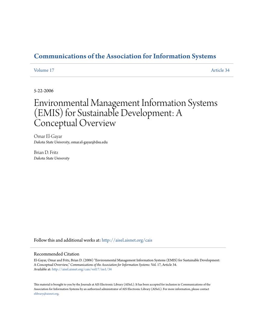 Emis Manajemen Un Ma : manajemen, Environmental, Management, Information, Systems, (EMIS), Sustainable, Development:, Conceptual, Overview